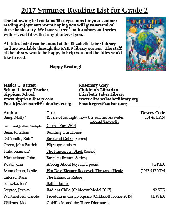 Grade 2 Reading List | Sippican Library Online