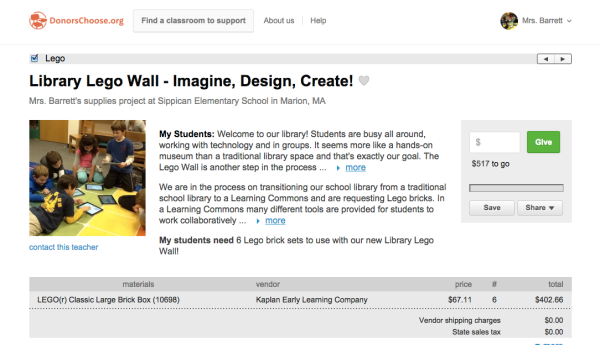 Fund our Lego Wall through Donors Choose!